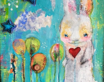 "Original ""somebunny"" Painting,  Mixed-media, Visionary, Intuitive, Channeling, Acrylic, Watercolor, Love, Magic, Freedom, Whitmire A"
