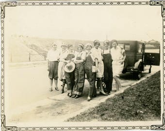 vintage photo 1930s Women Farmer Blue Jean Overalls Stand by CAr
