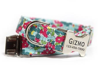 Floral Dog Collar, Summer Floral Collar, Personalized Dog Collar Darling Floral