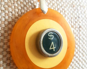 Genuine bakelite vintage two tone poker chip necklace   green dollar sign typewriter key   silver tone chain   lucky necklace
