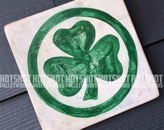Shamrock, Irish Pride. Vintage-looking upcycled wood sign, hand made, hand painted