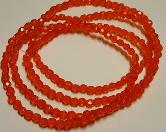50 - Vintage Czech Fire Polished Glass 4mm Faceted Round Beads - Orange Transparent