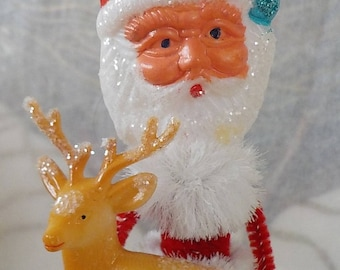 Vintage Style / Pipe Cleaner Santa Claus Figure / Vintage Craft Supplies / Deer / Pinecone / Bump Chenille / Glitter