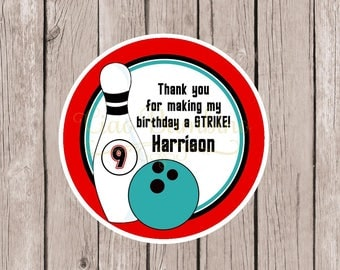 Bowling Favor Tags or Stickers / Bowling Birthday Party Tags in Red, Black and Turquoise Blue / Personalized with Name and Age / Set of 12
