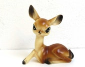 "Vintage Big Eyed Deer. 7"" Large plastic figurine. Cute Kitsch Home Decor. Sitting doe deer. Made in Hong Kong."