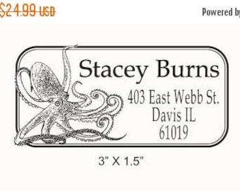Super Summer Sale Octopus Custom Return Address Rubber Stamp AD77