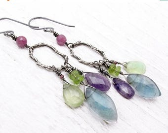gemstone earrings, boho earring, statement earrings, woodland earrings, gift for her, February birthstone, ruby, peridot, amethyst, flourite