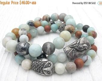 amazonite bracelet, gemstone bracelet, natural stone bracelet, stacking bracelets, owl bracelet, bird bracelet, sandalwood, aqua blue,