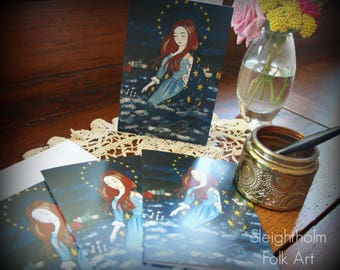 Stella Maris NOTECARD SET of 4 star of the sea mary religious card