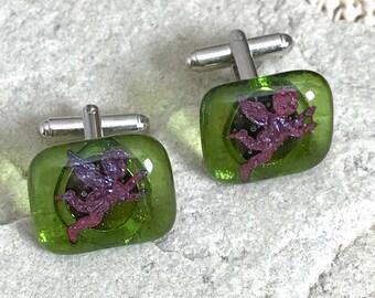 Glass Cherub Cufflinks Semi Transparent Sage Green with Encased Cherub or Cupid Motifs  Silver Plated T Bar Fittings - Gift Box