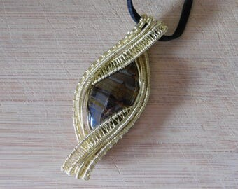 Tiger Iron Cabochon Pendant Yellow Brass Wire Wrap Weave Wrapped  Boho Hippie Rennaisance Wire Wrapped Jewelry Handmade Ground Protect
