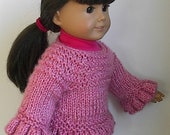 """18 Inch Doll Clothes Knit Ruffled Sweater Buttons in Back Handmade to fit the American Girl and Similar 18"""" Dolls - Heather Rose Color"""