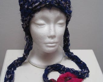 "EARLY FALL SALE royal fuschia crocheted hat with tails, made from upcycled chiffon scraps ""kerala"""