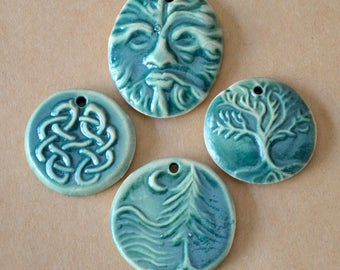 4 Handmade Ceramic Beads in Deep Moss Green  - Celtic Pendants and St Patrick's Day Charms - Greenman Pendant - Tree of Life Focal