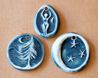 3 Handmade Ceramic Pendants - Moon over Cedars, Moon and Nile River Goddess Beads in Denim gloss glaze - Handmade Jewelry Supplies