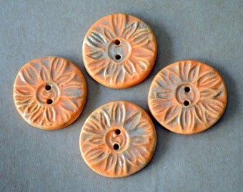 4 Handmade Ceramic Buttons - Sun Buttons -  Bright Orange Sunburst Buttons in Stoneware - Woodland and Rustic Handmade Knitting Supplies
