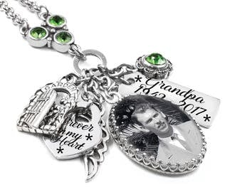 Memorial Necklace, Memory Necklace, Photo Memorial, Remembrance Necklace, Personalized Memorial, Loss of Mom, Loss of Dad