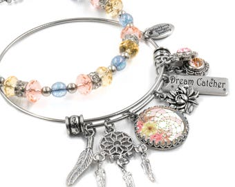 Dream Catcher Bangle Bracelet in with crystals set of 2 in stainless steel adjustable bangles