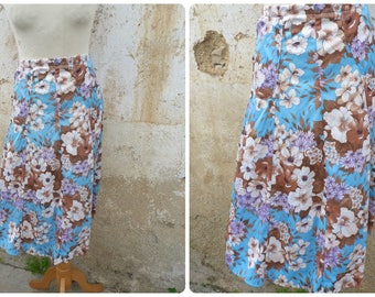 Printemps Vintage 1970/70s  French floral printed polyester skirt  size M
