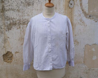 Vintage Antique 1900s  French striped cotton Men Shirt  size S/M