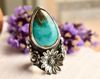 Silver Saddle Ring, Botanical Ring, American Turquoise Ring, Flower Ring in Detailed Setting, Handmade Artisan Silver Ring, Gift for Her