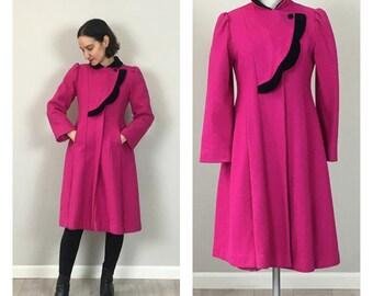 Vintage 50s Wool Rothschild Fuchsia Princess Coat Small