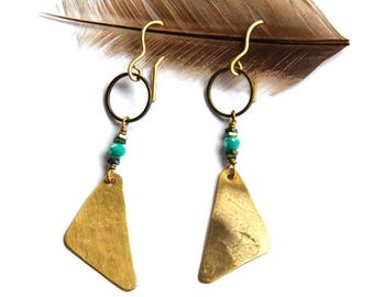 Brass Triangle and Mint Earrings (E1268)