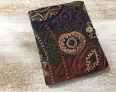 COMPOSITION Notebook Book Cover - quilted fabric collage - fabric collage