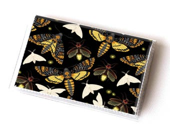 Vinyl Card Holder - Moths and Fireflies / insects, butterfly, butterflies, cute, wallet, card case, vinyl wallet, vegan, small, pretty