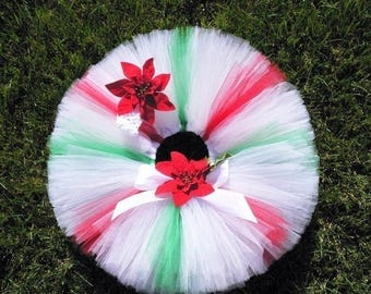 SUMMER SALE 20% OFF Christmas Tutu - red white green tutu - Christmas Candy Cutie - Custom Sewn 8'' Tutu - peppermint inspired tutu - sizes