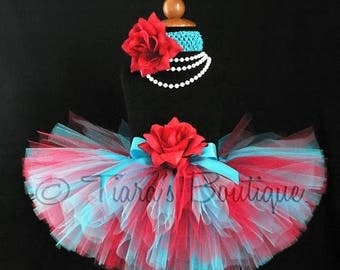 "SUMMER SALE 20% OFF Custom Sewn Tutu Red Blue - Suess Sweetheart - 8"" tutu - sizes Newborn to 5T"