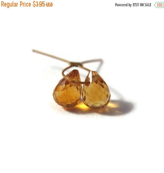 Summer SALEabration - Two Little Citrine Beads, 2 Tiny Faceted Briolettes, Matched Pair of 5mm x 3mm - 8mm x 5mm Gemstones for Making Jewelr