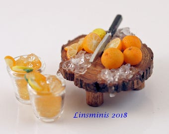 "12th scale handmade dollhouse miniature ""Rustic OJ Prep""."