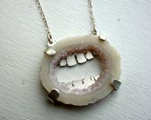 Agate Slice 2 - Handmade Mouth Pendant with Handmade Sterling Silver Teeth Behind Crystal Agate Slice