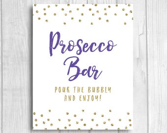 Prosecco Bar 8x10 Printable Wedding or Bridal Shower Sign - Pour the Bubbly and Enjoy - Purple and Gold Glitter Polka Dots