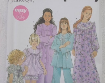 Simplicity 5382, Girls Pajamas Nightgown Robe Pattern, Uncut FF, Girls Size 7 - 14