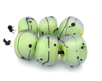 1 Pair or 6 Matte Lavender Embraced Lime Green Nuggets  - Sea Glass, Handmade Lampwork Bead Set Karin Hruza