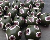 Set of Dark Green and Brown Chunky Round Shaped Beads Handmade Polymer Clay Artisan Jewelry Supplies
