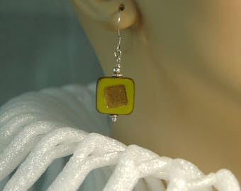 Green/brass color, square flat Czech glass and bali sterling silver beaded French hook pierced earrings for pierced ears