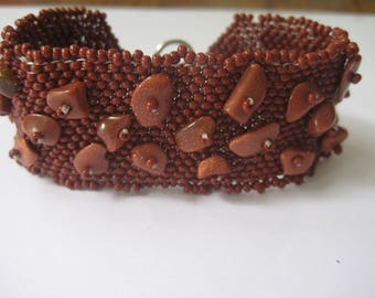 Beaded Cuff Bracelet in Brown and Goldstone