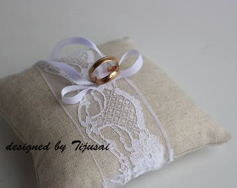 Natural linen wedding ring bearer pillow- ring bearer pillow, wedding pillow , ring bearer, ring cushion-ready to ship
