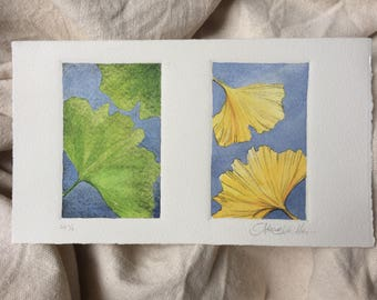 Hand-Colored Art Print Etching on Cotton Paper - Ginko Duet