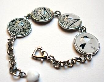Bracelet, black hearts BR091A