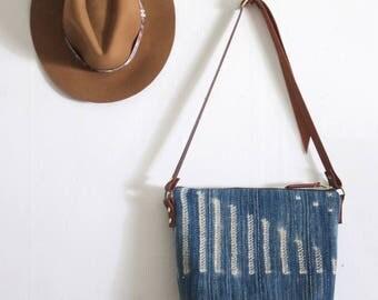 Stylish Diaper Bag, Boho Weekender, Stylish School Bag, Leather Crossbody, Boho Laptop Bag, Indigo Bag. Boho Chic Bag,  Ready to Ship