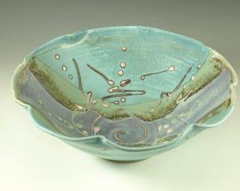Serving Bowl ceramic bowl turquoise