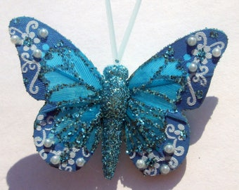 Butterfly Hair Clips small blue glitter Butterfly Accessory feather butterfly hand made hair clips by Ziporgiabella