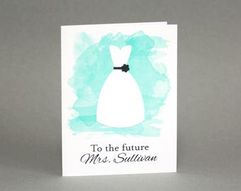 Personalized Bridal Shower Card/ Bride to Be Card/ Wedding Shower Card/ Bridal Shower Gift/ Engagement Card/ Watercolor/ Future Mrs
