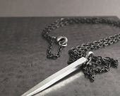 Silver Spike necklace, Sterling silver, brass, dagger pendant, hammered, Unisex jewelry
