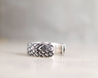 Sterling Silver cuff earring, Dragon Scales, Unisex jewelry