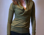 bamboo french terry cowl top / nursing breastfeeding shirt / made to order / by replicca / size S to XL / your choice of colour